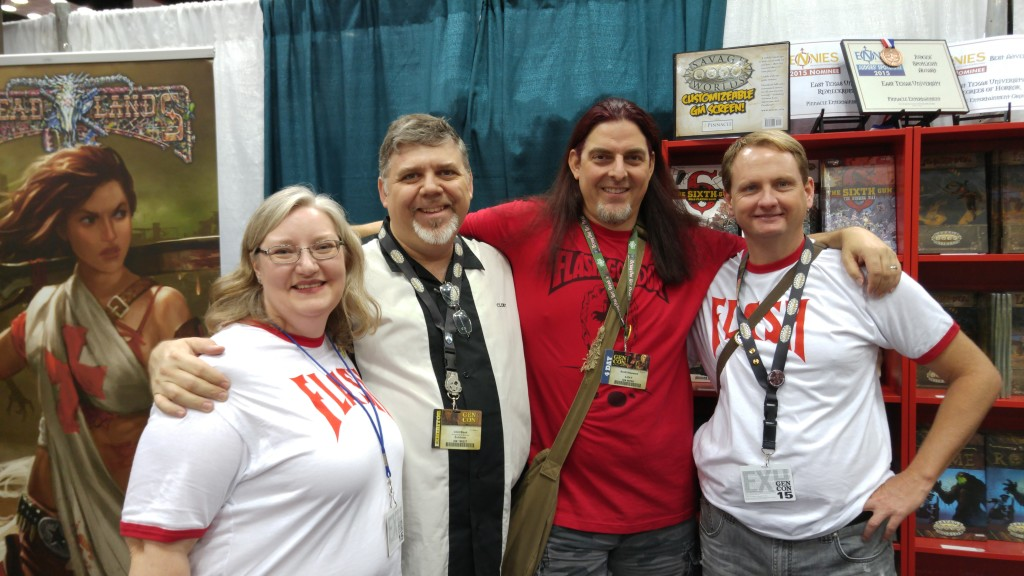 L to R: Jodi Black (Pinnacle COO/Managing Editor), Clint Black (Savage Worlds Brand Manager), our own Scott Alan Woodard (now Flash Gordon Brand Manager), and Shane Hensley (Owner, Pinnacle Entertainment Group)