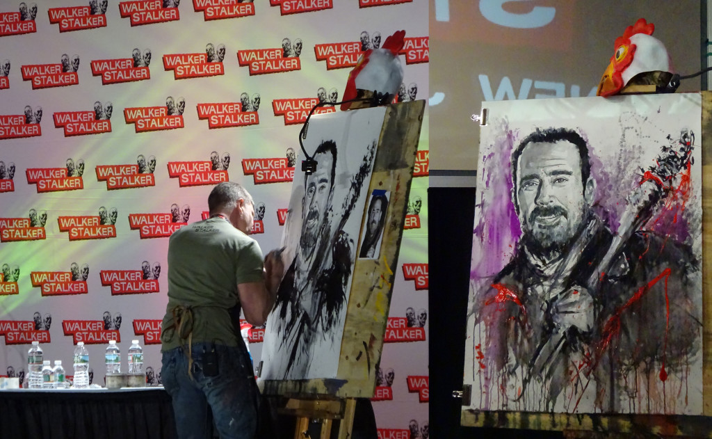 Artist Rob Prior bringing Negan to life on paper. On the left, Prior at work; on the right, the final piece backstage. Photo by Natalie B. Litofsky