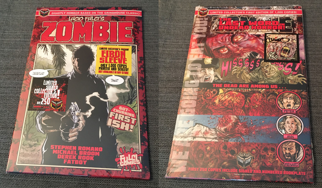 This and the following photos give you a look at the unpackaging of this prestige comic book release. Here, front and back views of the comic in its sleeve and stickered shrink-wrap. Photo by Arnold T. Blumberg