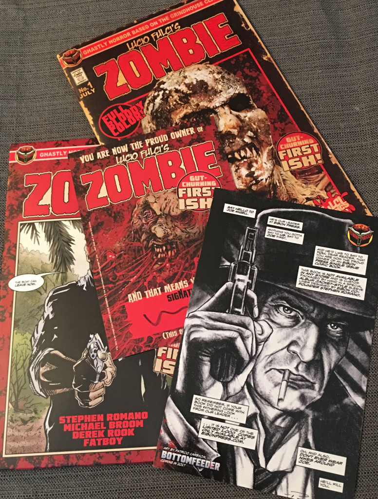 A look at the whole package (clockwise from top): The first issue of ZOMBIE, a folded insert, the outer sleeve, and a signature card. Photo by Arnold T. Blumberg