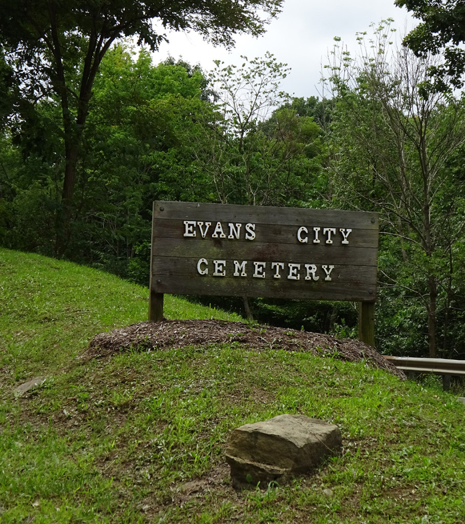 When you approach Evans City Cemetery, this is the first sign you see. We're on the right track! Photo by Natalie B. Litofsky