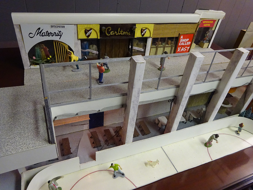 A huge diorama along one wall re-creates sections of the Monroeville Mall as seen in DAWN, including this section including a bit of the ice rink. Photo by Natalie B. Litofsky