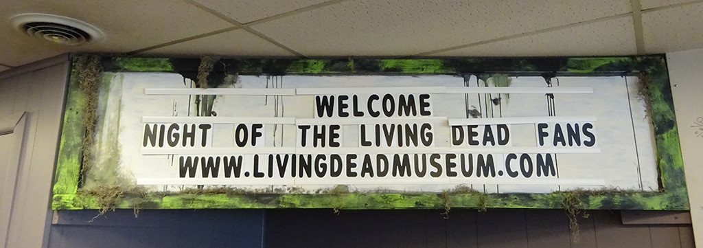 Inside, a marquee welcomes visitors to the home of horror cinema history! Photo by Natalie B. Litofsky