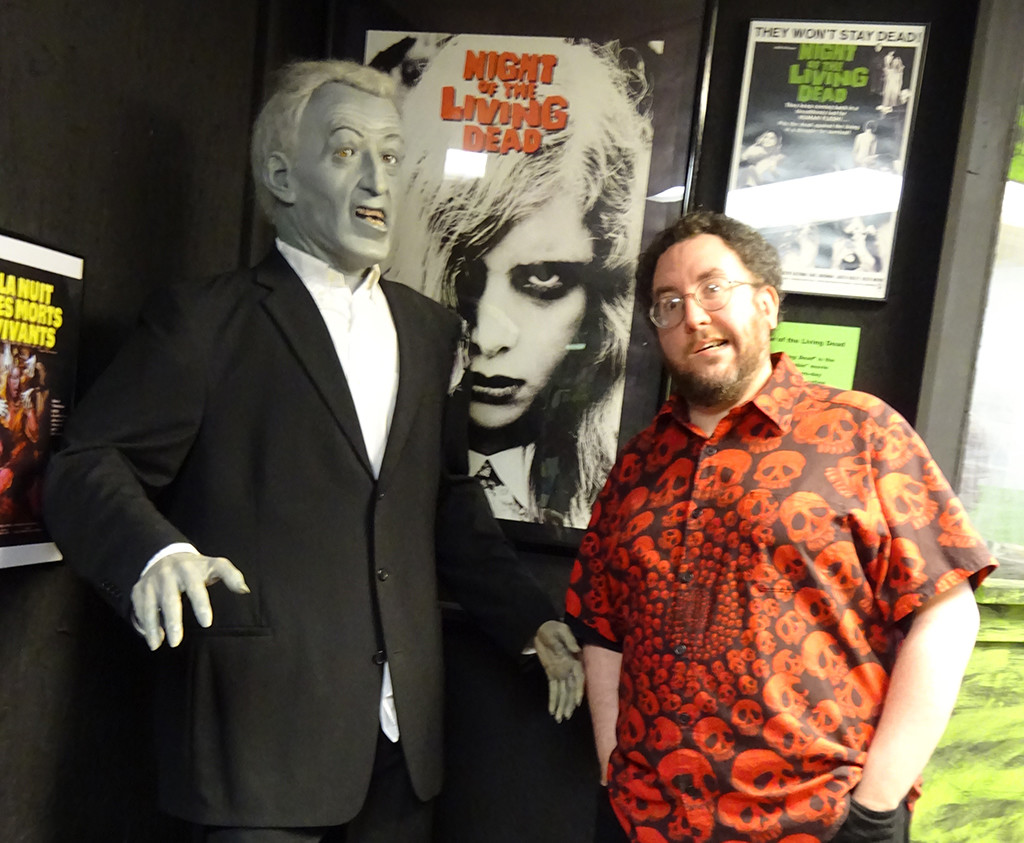 Naturally the museum has quite a bit of space devoted to the film that redefined the zombie in the modern era - NIGHT OF THE LIVING DEAD. After a fascinating wall of behind-the-scenes and publicity stills, I ran into this gentleman and tried to join him in his crooked-jawed excitement! Photo by Natalie B. Litofsky