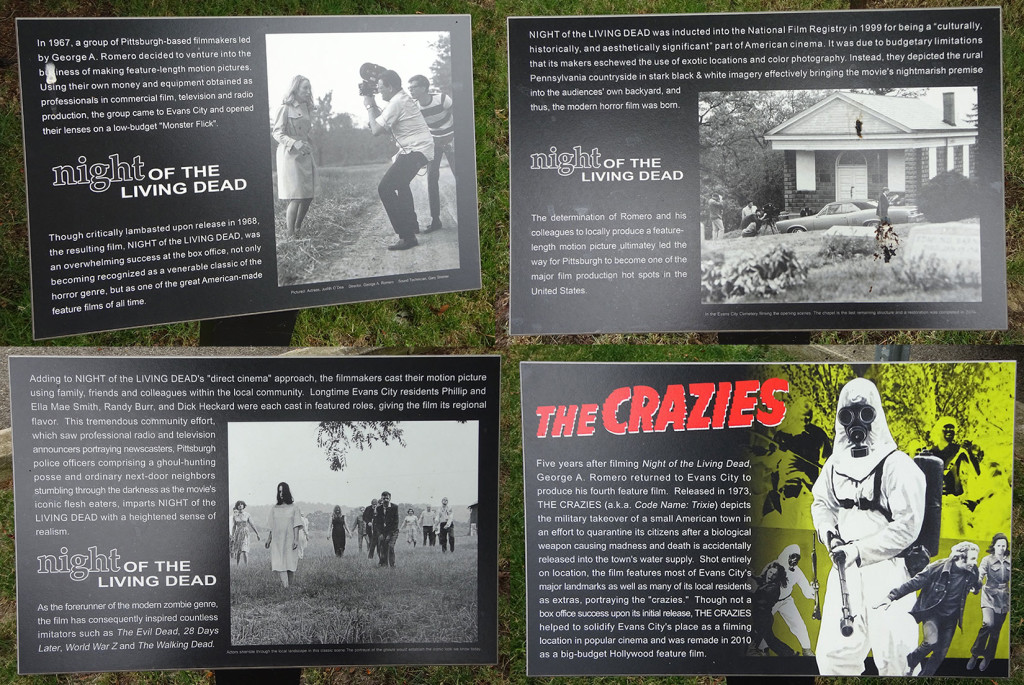 A collage of the four informational signs that ring the central historical marker.  Photo by Natalie B. Litofsky
