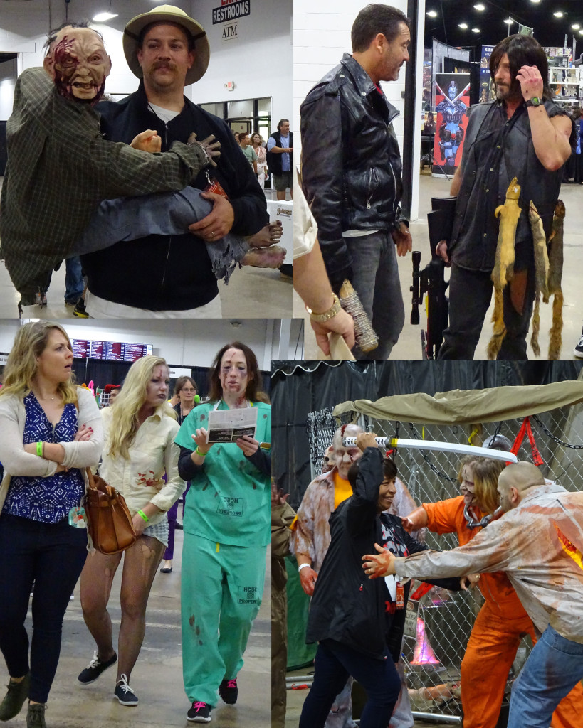 In this collage you'll see a zombie keeper and his puppety charge, Fake Negan and Fake Daryl shooting the breeze instead of each other, zombies consulting a guide for where to shamble next, and a gleeful attendee sticking it to the undead. Photo by Natalie B. Litofsky