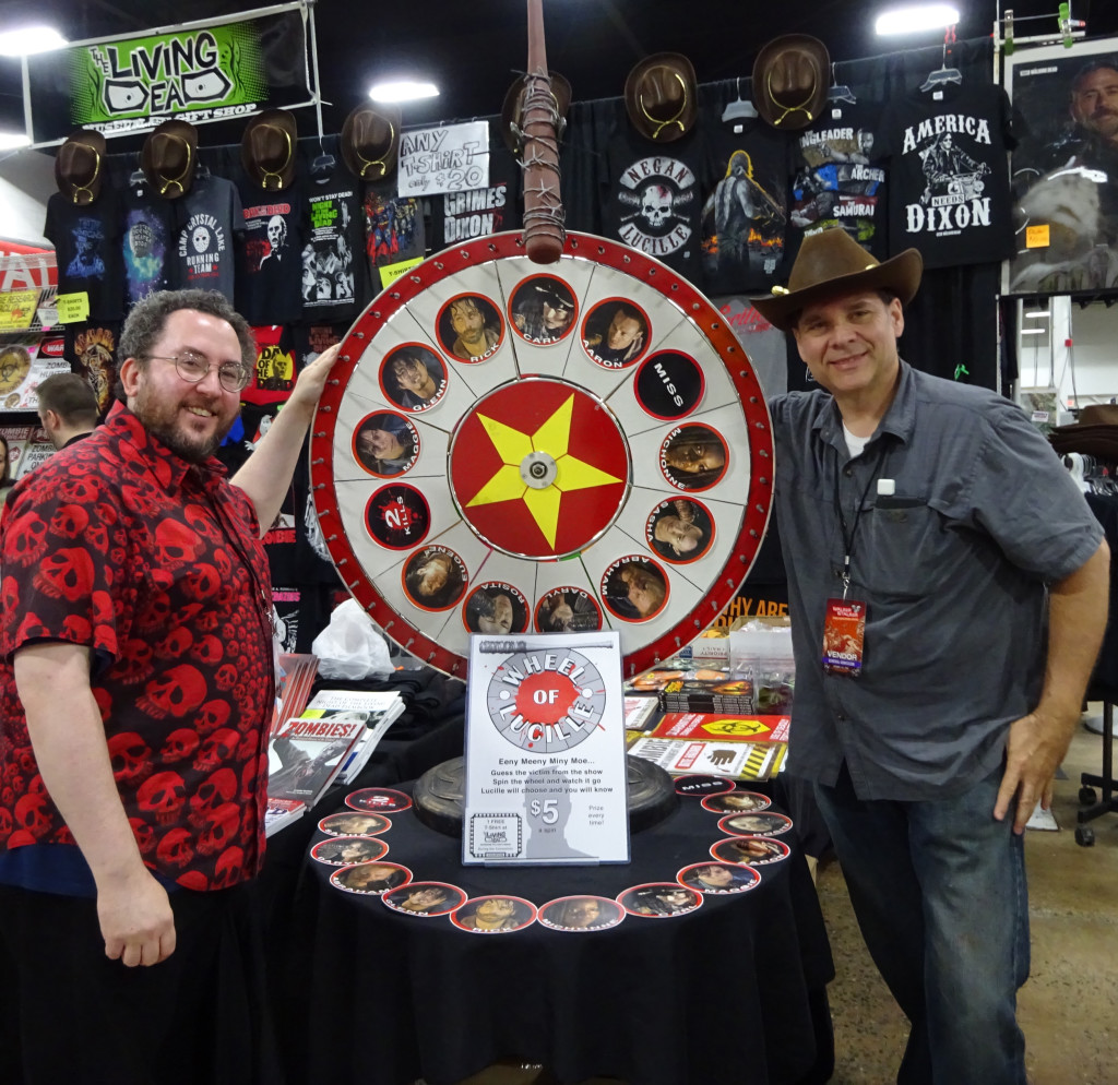 "Hey look, it's Kevin Kriess of the Living Dead Museum sporting a snazzy Rick Grimes hat and spinning the ""Wheel of Lucille!"" Photo by Natalie B. Litofsky"